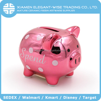 SEDEX Plating Decal wholesale glossy pig ceramic money saving box,piggy bank,coin bank