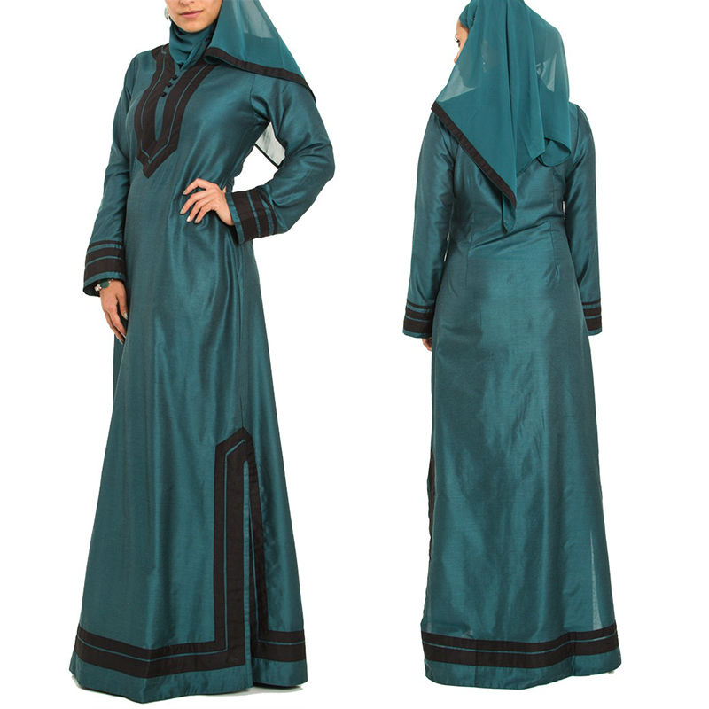 wholesale abaya latest design green muslim long sleeve arabic kaftan