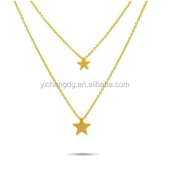 Two Star Necklace Gold Tone Small Layered Star Necklace, Dainty Tiny Star Charm