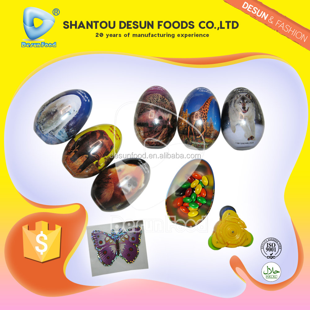 New big suprise egg(metal cover) with good quality chocolate bean and toys and tattoo