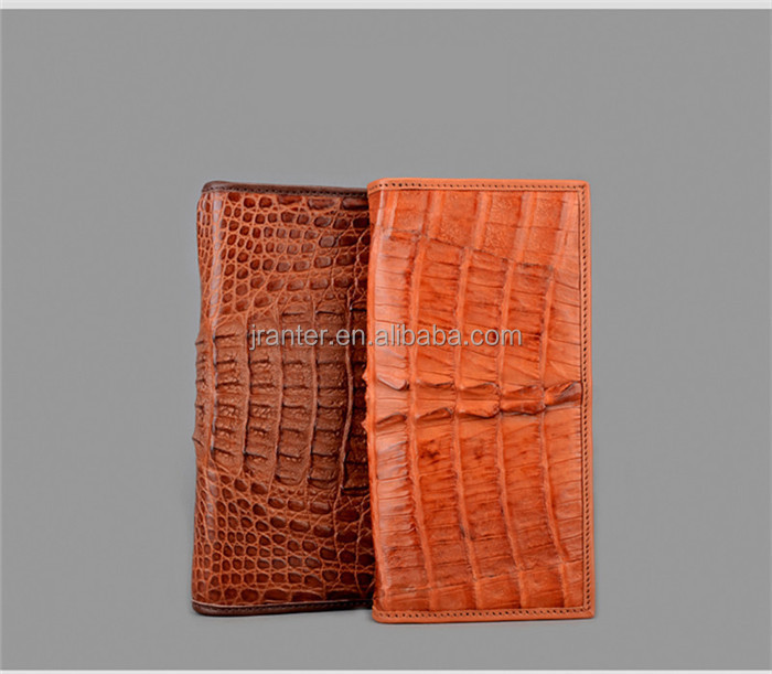 Business Men Genuine Crocodile Leather Checkbook Wallet ID Card Holder OEM ODM