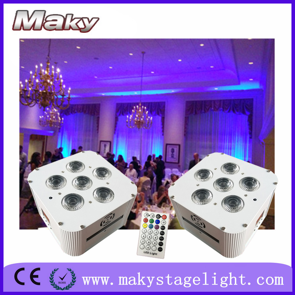 MAKY MQ-G119 6pcs 18w RGBWA UV 6in1 wireless dmx battery powered rechargeable led flat par light for wedding