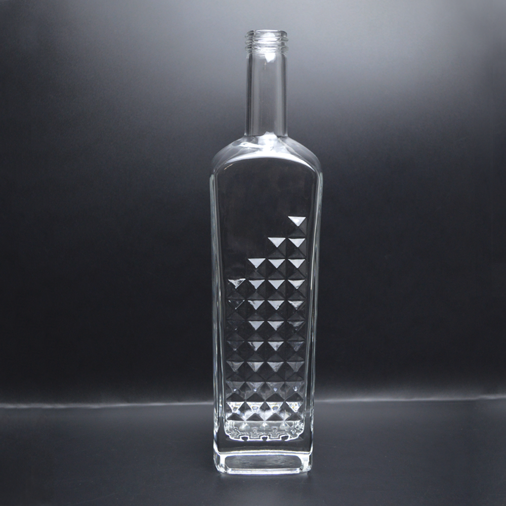 Wholesale 500ml 750ml square glass vodka bottle
