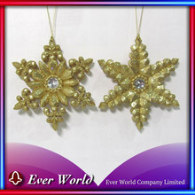 HOT NEW Christmas Plastic Gold Glitter Snowflake Ornament for Christmas Tree Decoration Sets, Wholesale Christmas Ornaments