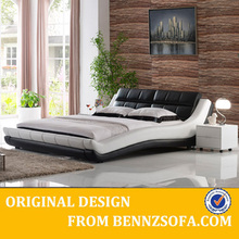 Modern white leather furniture king size bed