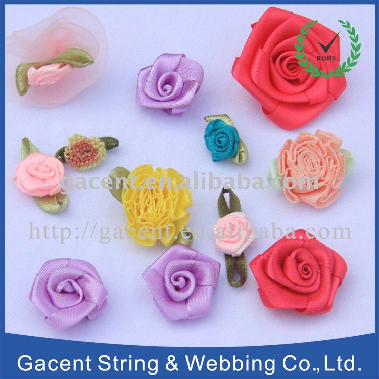 Satin ribbon flowers grosgrain ribbon flowers handicraft flower ribbon