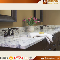 bathroom double sink designed cultured apron marble vanity tops , white natural marble countertop for hotel