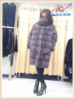 2016 Knee-length mink fur coat genuine fur imported from Finland