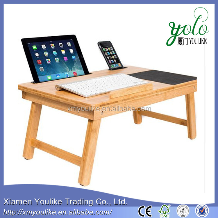 portable folding bamboo wooden laptop bed desk