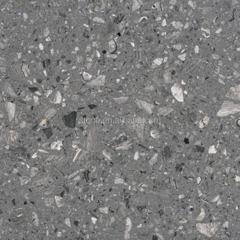Grey Artificial Marble With Big Grains Grey Engineered Stone