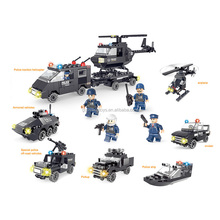 Police traction helicopter building blocks toys educational puzzles toys