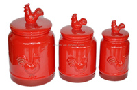 High quality ceramic airtight red rooster canister sets for food storage