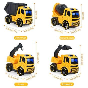 Friction Powered Trucks Push and Go Construction Vehicles Car Toys Tractor,Bulldozer Cement Mixer Truck,Dumper Push Back Vehicle