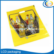 Customized hdpe plastic bag with Die cut handle for shopping