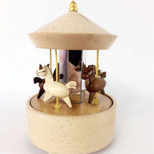 Alibaba wooden carousel horse merry-go-round gift music box