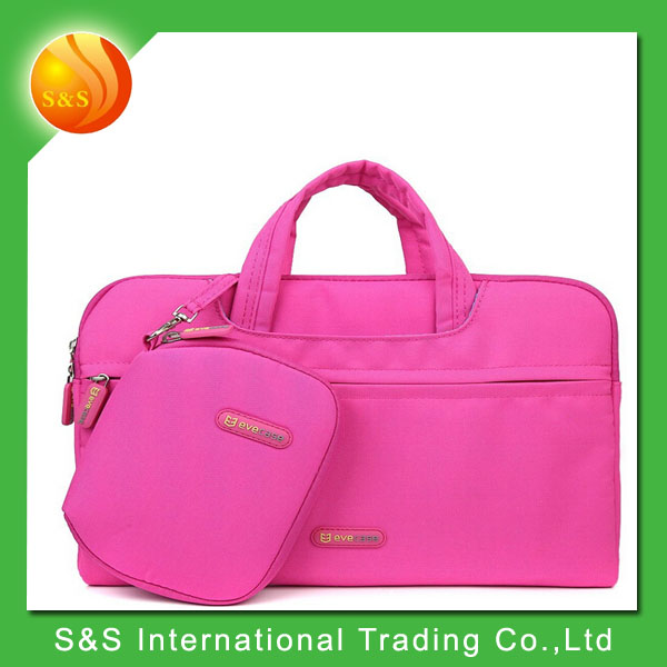 Hot pink stylish polyester waterproof laptop bag with pouch bag+mouse pad