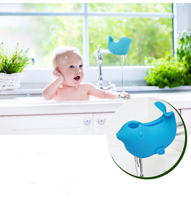 Amazon hot sell kids safety hand washing protective cartoon sea lions faucet extender in bathroom