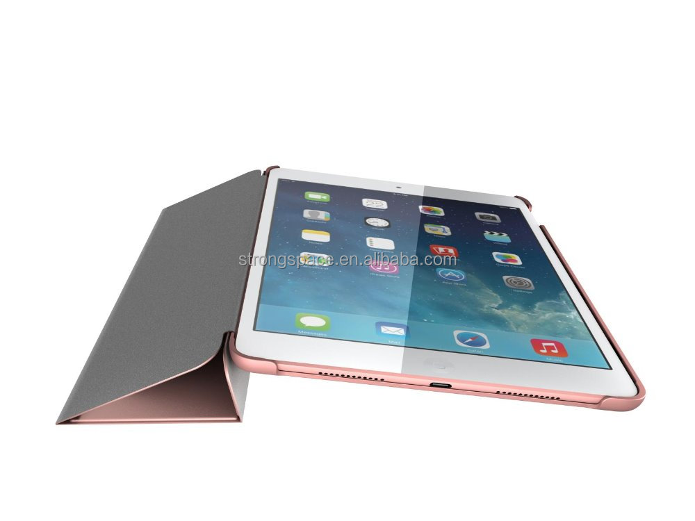 2016 Rose Gold Smart stand leather Case for iPad air 3
