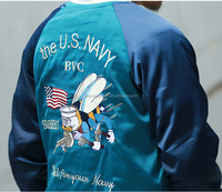 Custom Fashion Embroidered Reversible Souvenir Satin Bomber Jackets Wholesale