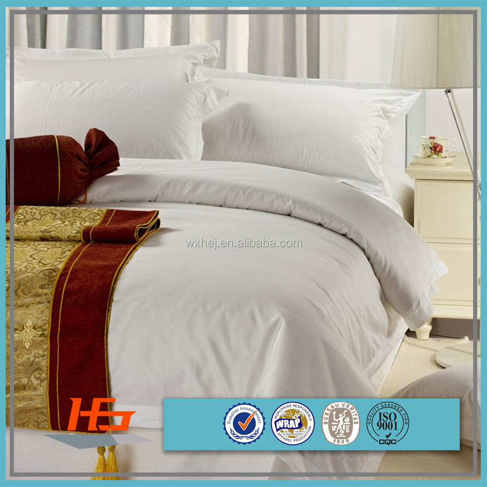 Polyester Cotton Queen Size Bed Spread White Luxury Hotel