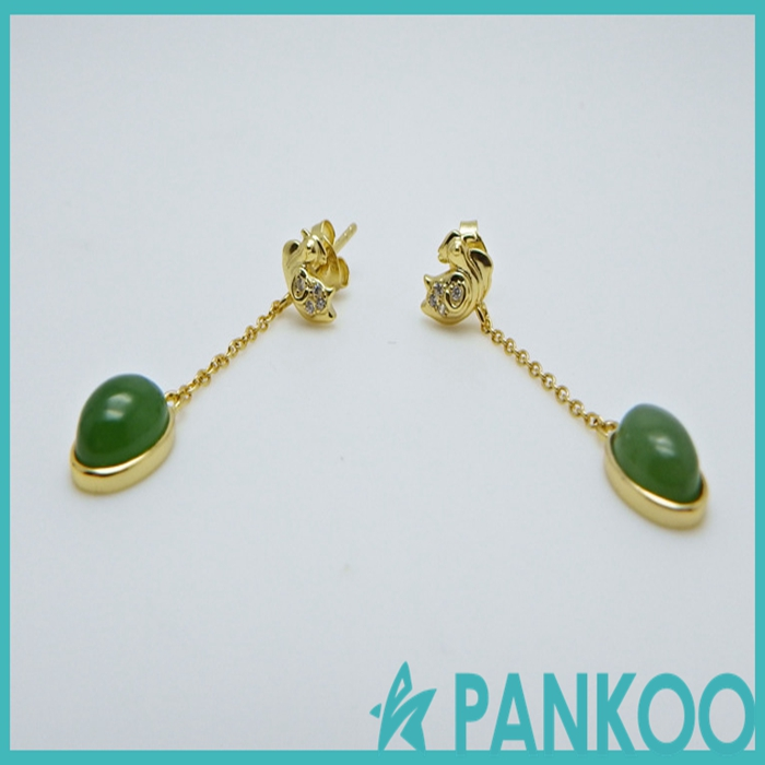 Gold-plated 925 sterling silver jewelry inlaid natural jade unique shape simple long earrings
