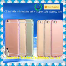 TPU diamond transparent clear phone case for samsung galaxy note n7000 i9220 cover