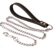 Silver Stainless Steel Figaro Chain Welding Leash with Black Leather Handle for Pet Dog Strong Factory Wholesale in Stock