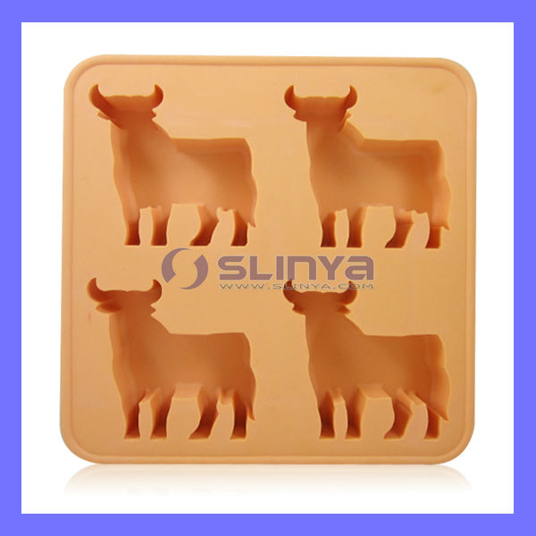 TPR Thermal Silicone Cow Duck Dog Animal Shape Ice Cube Tray