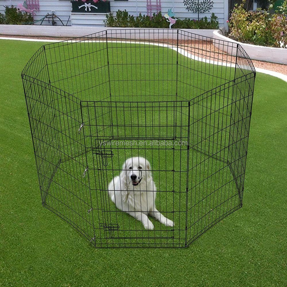 "Black Color Outdoor Indoor 24/30/36/42/48"" H Pet Dog Playpen Exercise Fence Wire Mesh Cage Kennel Play Pen with Door 8 Panel"