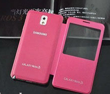 touch screen view leather case battery cover for samsung note 3