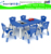 Children preschool furniture cheap plastic tables and chairs in moon shape