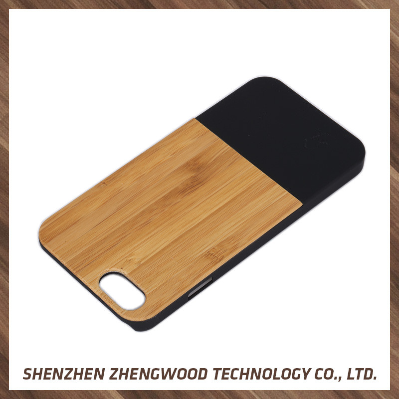 Customized wood back cover pu leather bag case for iphone