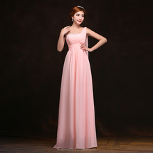 YMY001 Beautiful one shoulder flower strap gathered chiffon top A-line full length long baby pink bridesmaid dress