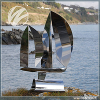 Outdoor Landscape Stainless Steel Boat Sculpture