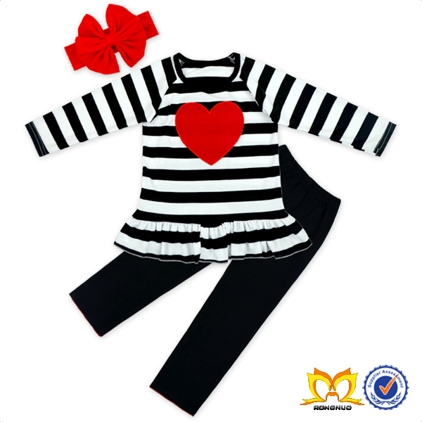 Girl Heart Shape Embroidery Ruffle Outfit Valentine's Day Kids Clothing Children Wear