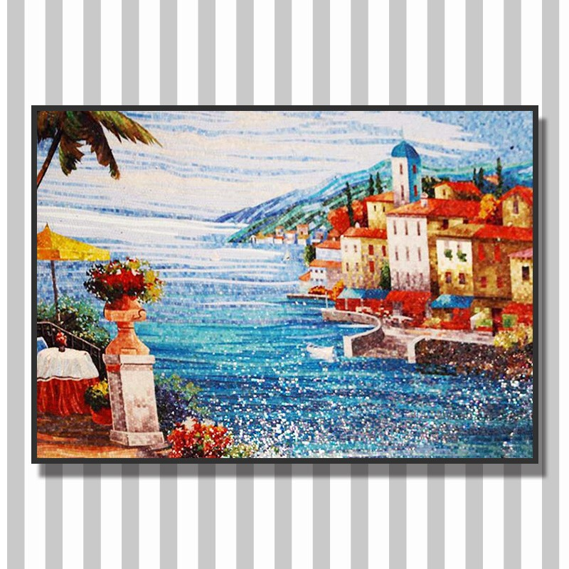 Lowes Wall Murals ztclj jy-jh-ss07 seaside scenery glass painting picture backsplash
