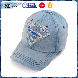 Custom promotional printing or embroidery logo hat rhinestone wear worn cotton sports direct baseball cap surper man S LOGO