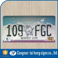 Personalized metal glowing number plate , car numberplates
