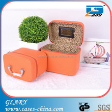 Leather travel mirror jewellery packing box