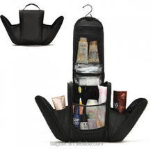 CT3130 Reshine Black Large Women Travel Polyester Toiletry Bag Hanging Makeup Case With Hook