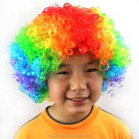 2015 Wholesale factory price 100% polyester fiber rainbow color curly afro wigs for black women