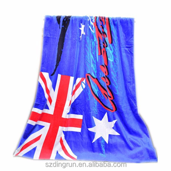 100% cotton reactive printed flag beach towel uk