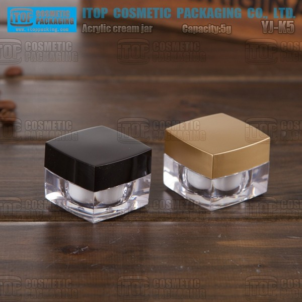 YJ-K5 5g special recommended promotional trial size high-end mini square 5g 15g 30g 50g acrylic cosmetic jar