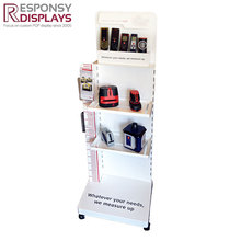 Removable Supermarket metal Floor home appliance display rack with brochure pocket