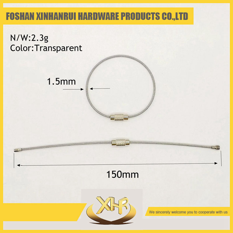 150mm lenght rubberization stainless steel wire cable key ring Transparent