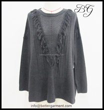 Newest hot sell girl women ladies casual clothes with fringes for autumn and winter BG151038, casual clothes for women