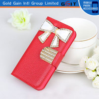 Leather Flip Cover For iPhone 4G, Diamond Case For iPhone 4G With 3D Diamond Picture