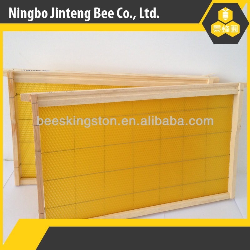 Assembled high quality beekeeping pine wooden frame with beeswax foundation for beehive