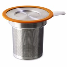 Manufacturer low price stainless steel silicone leaf tea infuser with colorful lids
