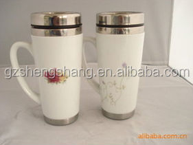 High quality stainless steel & ceramic mug with lid,porcelain cup(BPA Free)